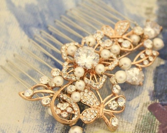 bridal hair comb gold flower Wedding hair comb Crystal hair pins Wedding comb Rhinestone Bridal comb Wedding hair accessories Bridal hairpin