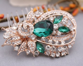 bridal hair comb silver crystal hair accessories blue Wedding hair comb Green Wedding comb Rhinestone hair pins Bridal hair piece Wedding
