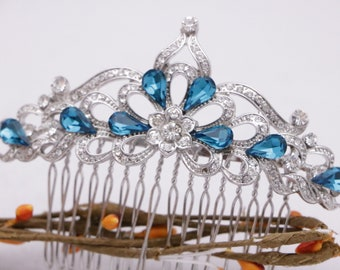 bridal hair comb crystal hair clip Wedding hair comb Blue Rhinestone hair comb Wedding comb Vintage style Bridal comb Bridesmaid hair comb