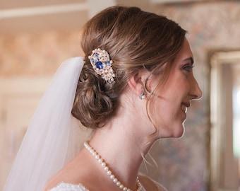 bridal hair comb wedding hair comb Blue Wedding hair accessories floral Bridal comb Rhinestone hair piece Wedding hair piece Blue Bridesmaid