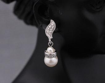 bridesmaid earrings pearl Silver Bridal Earrings CZ Bridal Earrings,Bridesmaid Earrings,Pearl Earrings,Pearl Bridal Earrings,Wedding earring