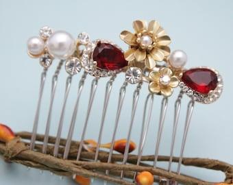Rhinestone Hair Comb,Pearl Bridal Hair Comb,Vintage Wedding Hair Comb,Bridal Hair Accessory, Bride Headpiece,Bridal Hair Clip,Red hair comb