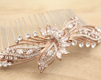Wedding comb rose gold Bridal hair accessories Crystal Bridal hair comb Rhinestone Wedding hair comb Boho Bridal comb Prom hair comb Bridal