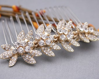 rhinestone hair comb wedding hair comb gold hair accessories wedding comb Crystal Bridal hair comb Vintage style Bridal comb Boho hair comb