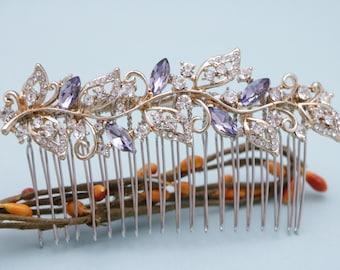 wedding hair comb with blue Wedding hair accessories vintage style Wedding comb Rhinestone hair pins Bridal hair comb Navy Wedding hair clip