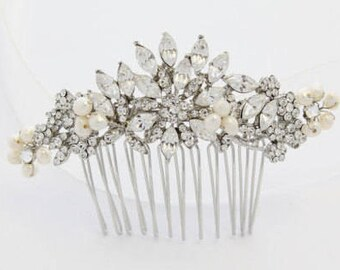 Bridal hair piece pearl Wedding hair accessories floral Bridal hair comb Crystal headpiece Wedding hair comb Rhinestone hair piece Prom hair