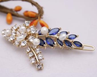 wedding hair clip blue Pearl hair comb Wedding hair accessories floral Bridal hair comb navy Wedding hair jewelry Bridesmaid hair comb Prom