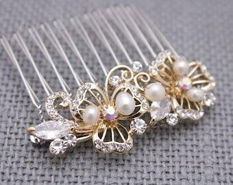 wedding hair clip gold wedding hair pins vintage style Wedding hair comb Pearl hair pins Wedding head comb Bridal hair accessories Prom boho