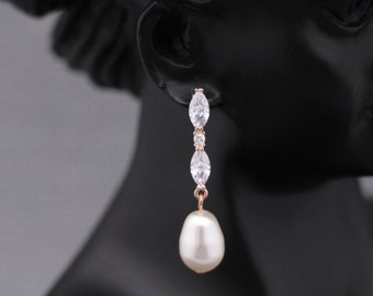 wedding earrings dangle Crystal Wedding Earrings,Long Wedding Earrings,Bridesmaid Earrings,CZ Bridal Earrings,Prom Drop Earrings,Bridesamid