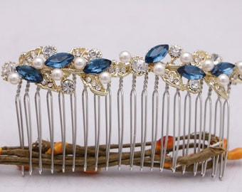 wedding hair comb blue Wedding hair pins Wedding hair accessories Swarovski pearl hair comb Bridal hair piece Bridesmaid hair comb,Wedding