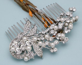 wedding hair comb floral wedding hair accessories bride wedding comb leaves Crystal Bridal hair comb Pearl hair comb Wedding head comb Boho