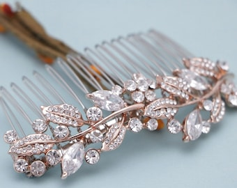 bridal hair comb rose gold wedding hair accessories bridal comb gold wedding hair comb rhinestones headpiece wedding comb Blue Prom hair pin