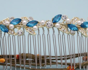 wedding hair comb floral wedding headpiece crystal wedding hair accessories pearl Bridal hair comb Blue Bridal comb Vintage style hair comb