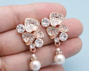 wedding earrings for brides pearl earrings bridesmaid bridesmaid earrings silver Bridal earrings Rhinestone earrings Wedding jewelry set
