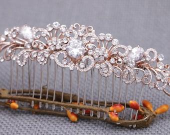 wedding hair comb rose gold Wedding hair piece Crystal hair comb Wedding head comb Bridal hair jewelry Wedding hair clip Bridal hair comb