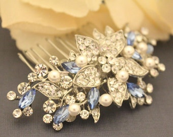 Bridal hair comb Blue,Wedding hair accessories,Bridal hair piece,Wedding hair comb,Bridal comb pearl,Bridal hair jewelry,Wedding hair piece