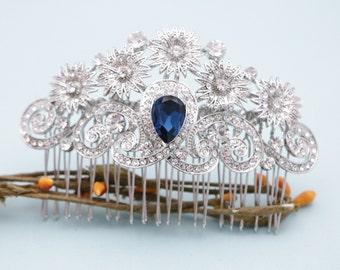 Bridal hair comb Navy Wedding comb Crystal hair comb Wedding hair comb Blue Bridal comb Wedding hair accessories Bridal hair piece Hair pins
