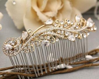 Bridal Hair Comb,Gold Leaf Hair Comb,Gold Hair Comb,Gold Hair Vine,Bride Hair Accessories,Leaf hair vine,Gold crystal hair comb,Wedding comb