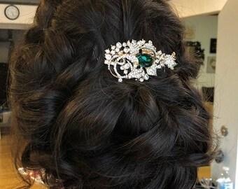 Wedding hair accessories,Emerald color Wedding hair comb,Bridal hair clip,Wedding headpiece,Bridal hair comb,Wedding hair piece,Bridal comb