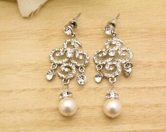 Bridal Earrings Chandelier,Wedding Statement Earrings,Art Deco Wedding Earring,Pearl Chandelier Earring,Bridal Chandelier Earring,Bridesmaid