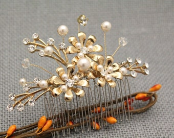 bridal hair comb gold wedding hair comb vintage style wedding hair piece gold bridal comb pearl wedding comb pearl hair comb,boho hair comb