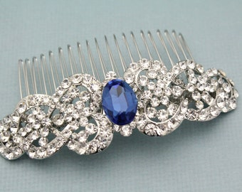 wedding hair comb blue wedding hair accessories boho bridal hair comb floral wedding comb for hair bridal hair piece crystal hair comb Prom