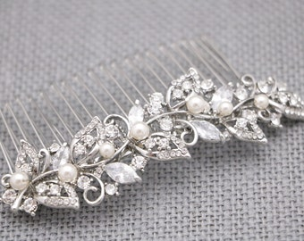 bridal comb hairpiece gold wedding hair comb pearl and crystal hair pieces for wedding hair accessories Rhinestone hair comb Bridal hair pin
