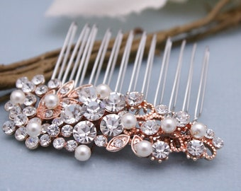 bridal hair comb simple Wedding hair accessories Silver,Gold,Rose gold Wedding hair comb Pearl hair pins Wedding comb Rhinestone hair comb