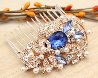 Wedding hair comb Rose gold,Bridal hair comb blue,Pearl hair piece,Wedding comb blue,Bridal comb Rose gold,Wedding hair jewelry,Prom hair