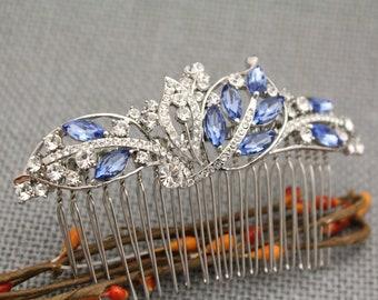Wedding comb Blue Rhinestone hair comb Vintage style Wedding hair comb Crystal hair comb Bridal hair comb navy Wedding hair accessories Prom