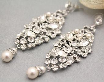 Swarovski Pearl Bridal Earrings,Crystal Cluster Wedding Earrings,Vintage Style Flower Bridal Stud Earrings,Pearl Drop Earrings,Bridesmaid