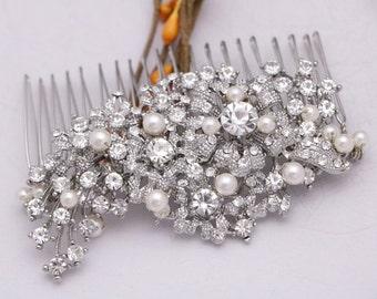 bridal hair comb pearl hair clip Wedding hair comb Crystal hair piece Wedding hair jewelry Bridal hair accessories Silver Wedding comb Prom
