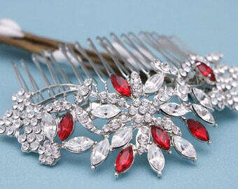 wedding comb rose gold Vintage Style Wedding hair comb Red Bridal hair comb Blue Wedding hair accessories Crystal hair comb Bridal hair comb