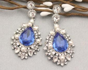Blue Sapphire Earrings,Blue Bridal Earrings,Something Blue Wedding Jewelry,Sappire Blue Earrings,Crystal Bridal Earrings,Wedding earrings