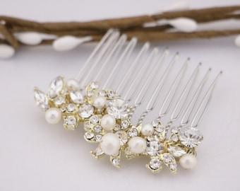 bridal comb pearl hair piece Wedding hair comb Gold Wedding comb Rose gold Bridal hair comb Silver Bridesmaid hair comb Flower girl hair pin