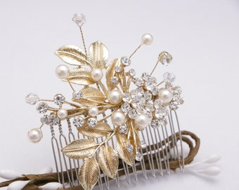 bridal hair piece silver wedding hair comb vintage style Wedding comb Pearl hair comb Crystal hair piece Bridal hair comb Rhinestone hairpin