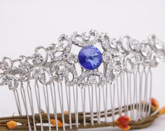wedding hair comb crystal Wedding hair accessories Silver Wedding comb Vintage style Bridal hair comb Blue Rhinestone hair comb Prom hairpin
