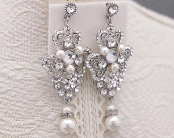 Wedding earrings for brides pearl,Bridal earrings chandelier,Pearl earrings bridesmaid earrings Crystal Earrings Wedding jewelry earrings