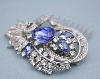 bridal hair comb blue wedding headpiece boho wedding hair accessories comb bridal comb blue Bridal hair jewelry Wedding hair clips Prom hair