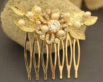wedding hair comb pearl hair pins Wedding hair accessories Vintage style Bridal hair comb Crystal hair pins Wedding hair clip Bridesmaid pin