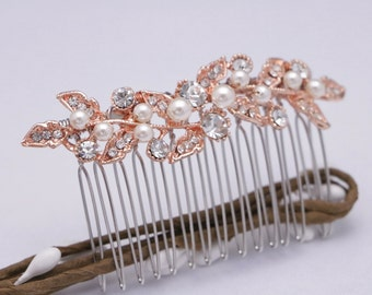 wedding hair comb rose gold Wedding hair piece Pearl hair comb Vintage style Bridal hair comb Rhinestone hair pins Wedding comb Crystal comb