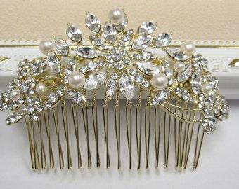 Gold hair comb Wedding hair accessories Floral Bridal hair comb Crystal hair barrette Prom hair piece Bridesmaid hair clip Wedding comb