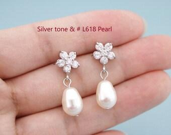 bridal earrings drop silver pearl Earrings wedding earrings for bridesmaids earrings pearl bridal earrings,cubic zirconia,wedding earrings