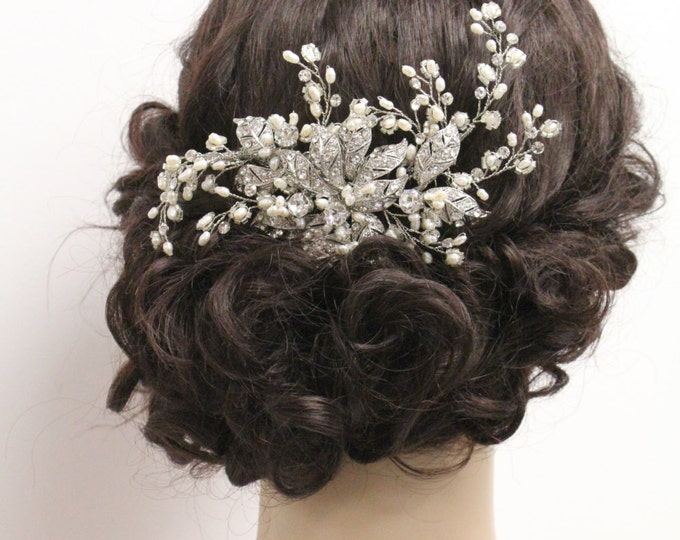 Featured listing image: Wedding hair vine Pearl Bridal hair band vintage Wedding hair chain Bridal headpiece Wedding hair jewelry Bridal hair band Wedding headband