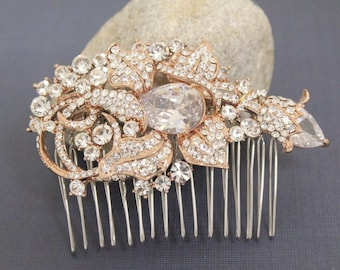 bridal hair comb rose gold Crystal hair comb Rhinestone Wedding hair comb Vintage style Bridal comb Crystal Wedding comb Bridal hair piece