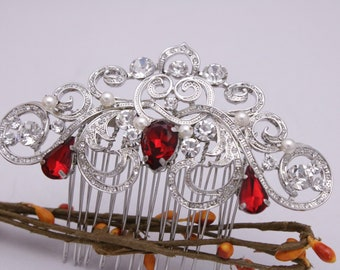 Wedding comb Red Bridal hair comb Crystal hair comb Wedding hair accessories floral Bridesmaid hair comb Prom hair piece Blue Bridal comb