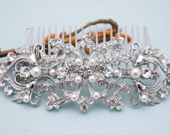 Bridal Swarovski Crystal Pearl Wedding Comb Wedding Hair Accessories Vintage Style Pearl Leaf Rhinestone Bridal Hair Comb Rhinestone Prom