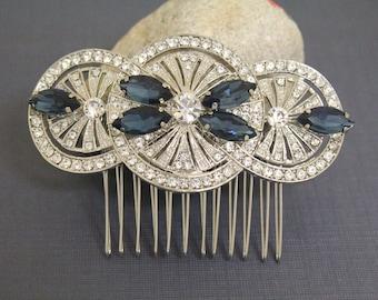 Vintage Style Bridal Rhinestone Hair Comb,Art Deco Style Wedding Hair Comb,Crystal Bridal Comb,Bridesmaid Hair Comb,Blue Bridal hair clip