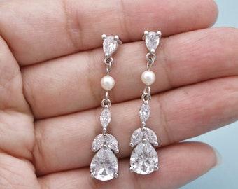 wedding earrings dangle Bridal Jewelry,Crystal Earrings,Silver Dangle Earrings,Bridal earrings Crystal earrings Rhinestone earrings,Boho