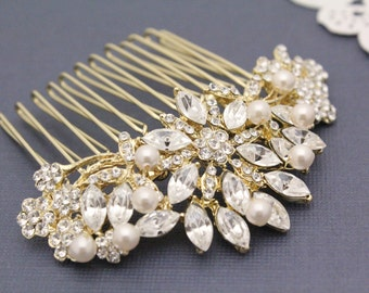 Bridal hair comb,Rhinestone hair comb,Wedding hair comb,Wedding headpiece,Bridal hair accessories,Pearl hair comb,Bridal hair clip,Gold comb